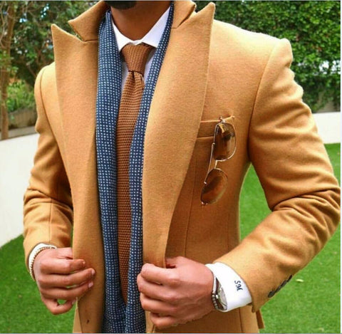 Men's Coats Tweed Slim Fit Long Coats-Men's Coats-Kenya-LeStyleParfait.Co.Ke