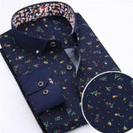 Men's Dress Shirts, Blue Floral Shirt, Casual Shirts-Shirt-LeStyleParfait.Co.Ke