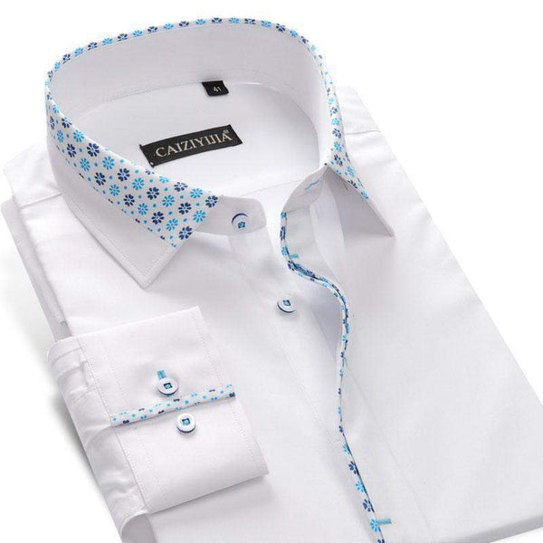 Men's Dress Shirts, Long-Sleeve Floral Print Patchwork Dress Shirt-Shirt-Kenya-LeStyleParfait.Co.Ke