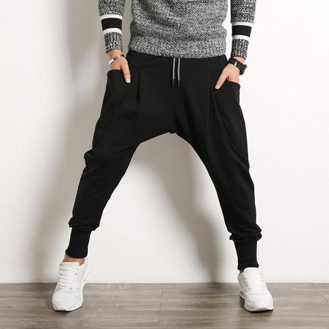 Men's Harem Pants Casual Sweatpants Drop Crotch Jogger Pants-Men's Pants-Kenya-LeStyleParfait.Co.Ke