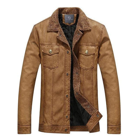 Men's Jacket Leather Vintage Jacket Warm-Jacket-Brown-Le Style Parfait Kenya