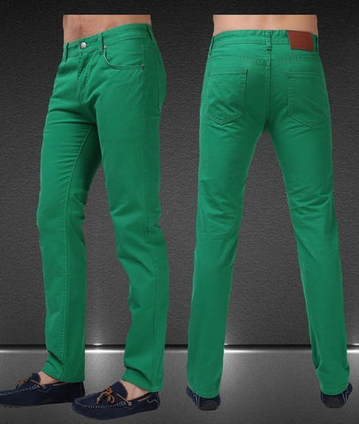 Men's Jean Pants Casual Elegant Pants Size 29-38, Green-Men's Pants-LeStyleParfait.Co.Ke