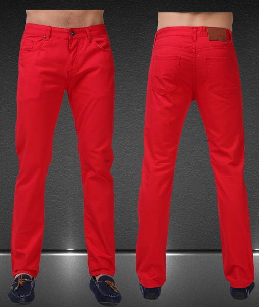 Men's Jean Pants Casual Elegant Pants Size 29-38, Red-Men's Pants-LeStyleParfait.Co.Ke