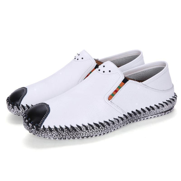 Mens Loafers Leather Casual Shoes Slip On Black White-Shoes-LeStyleParfait.Co.Ke
