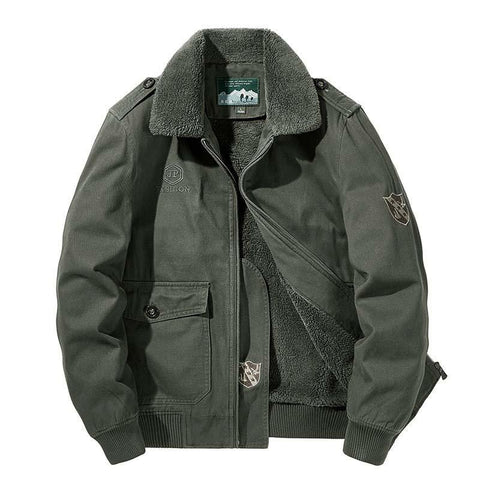 Men's Military Jackets With Fur Collar- Autumn, Clothing, Fall, Fleece, Flight, Fur, Jackets, Men, Men's, Men's Jackets, Military, Plus size, Winter-LeStyleParfait.Com