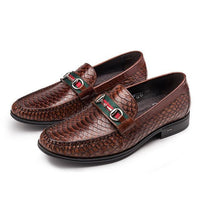 Men's Moccasins Serpentine Men's Shoes Genuine Leather Loafers Casual Shoes-Shoes-LeStyleParfait.Co.Ke