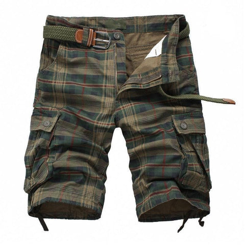 Men's Plaid Shorts - Army Green-Shorts-Online-Kenya-LeStyleParfait