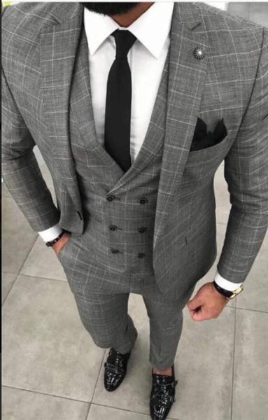 Men's Plaid Suit Plus Size Three Piece Men's Suit Grey-Suit-Kenya-LeStyleParfait.Co.Ke