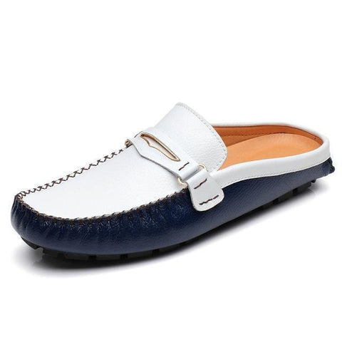Men's Sandals Casual Leather Shoes-Shoes-White Blue-Le Style Parfait Kenya