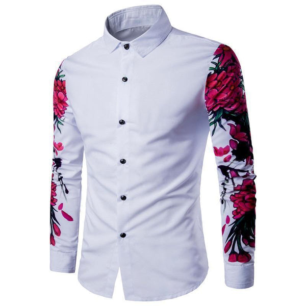 Men's Shirt, Casual Shirt, Floral Sleeves-Shirt-Kenya-LeStyleParfait.Co.Ke
