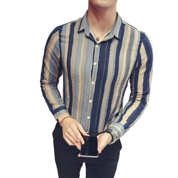 Men's Shirts Striped Long Sleeved Plus Size Shirts Bleu Green-Shirt-Kenya-LeStyleParfait.Co.Ke