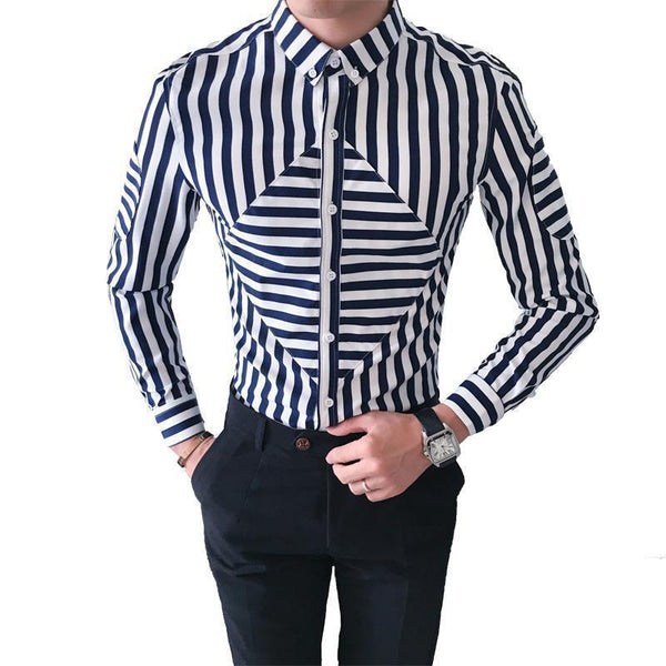 Men's Shirts Striped Plus Size Shirts Blue Red-Shirt-Kenya-LeStyleParfait.Co.Ke