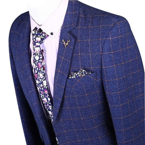 Mens Suits Business Tweed Suit 3-Piece Suit Blue-Suit-Kenya-LeStyleParfait.Co.Ke