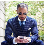Men's Suits Striped Double Breast Plus Size Suit Blue-Suit-Kenya-LeStyleParfait.Co.Ke
