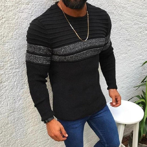 Men's Sweater With Grey Stripes- Autumn, Clothing, Fall, Men, Men's, Pullover, Sweaters, Winter-LeStyleParfait.Com