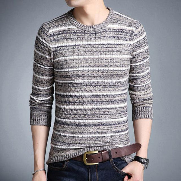 Men's Sweaters Striped Slim Fit Sweater-Sweaters-Kenya-LeStyleParfait.Co.Ke