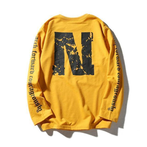 Men's Sweatshirts Streetwear Sweatshirts Yellow Black-Men Sweatshirts-Kenya-LeStyleParfait.Co.Ke