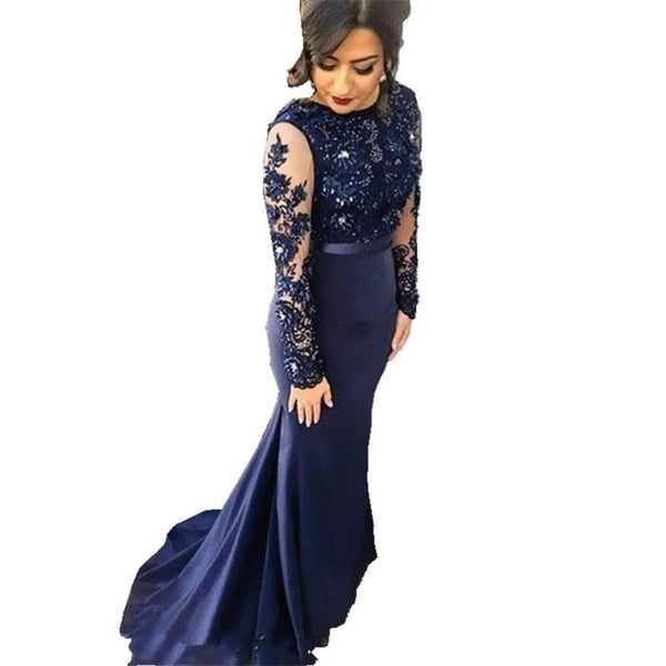 Mermaid Evening Dress Beaded Long Prom Dress-Dress-Kenya-LeStyleParfait.Co.Ke