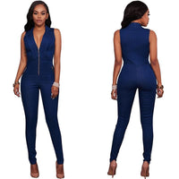 One Piece Jumpsuits V-Neck Denim Overalls Sleeveless-Jumpsuits-Kenya-LeStyleParfait.Co.Ke