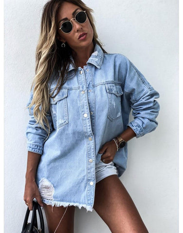 Oversized Ripped Denim Shirt For Women-Blouse-LeStyleParfait.Co.Ke