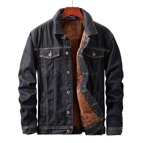 Paulo Men's Fleece Denim Jean Jacket- Autumn, Clothing, Denim, Fall, Fleece, Jackets, Jean, Men's Jackets, Plus Size, Winter-LeStyleParfait.Com