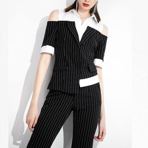 Pinstriped Black-White Women's Suit-Suit-LeStyleParfait.Co.Ke
