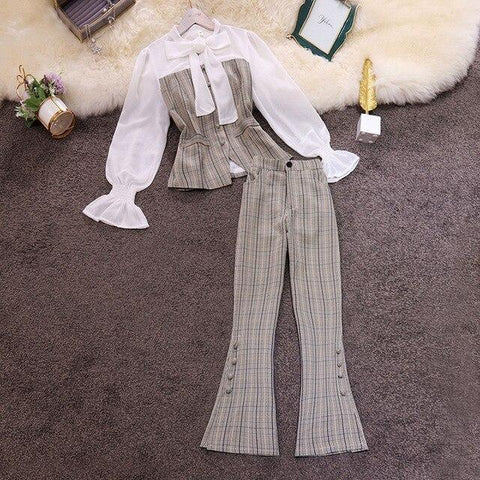 Plaid Patchwork Women's Suit With Flared Pants-Suit-LeStyleParfait.Co.Ke