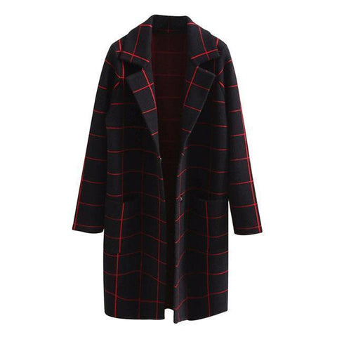 Plaid Winter Coat, Black-Women Coats-Black-Le Style Parfait Kenya