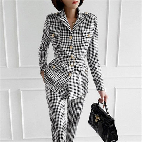 Plaid Women's Pants Suit, Slim Fit-Suit-LeStyleParfait.Co.Ke