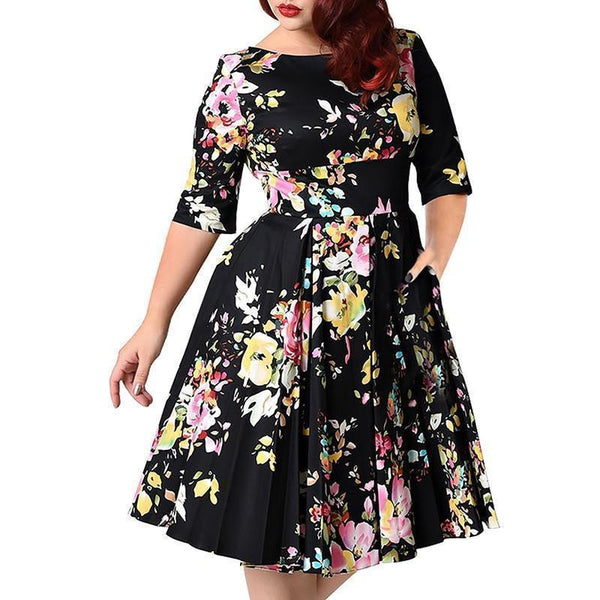 Plus Size Dress Women Floral Dress Half Sleeves-Dress-Kenya-LeStyleParfait.Co.Ke