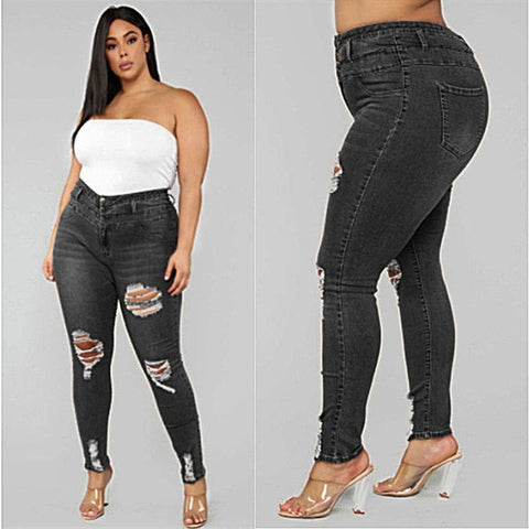 Plus Size Ripped Denim Pencil Pants For Women-Pants-LeStyleParfait.Co.Ke