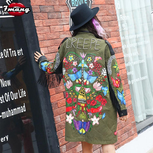 Punk Jacket For Women, Long Floral Fringe Coat-Women Coats-Kenya-LeStyleParfait.Co.Ke