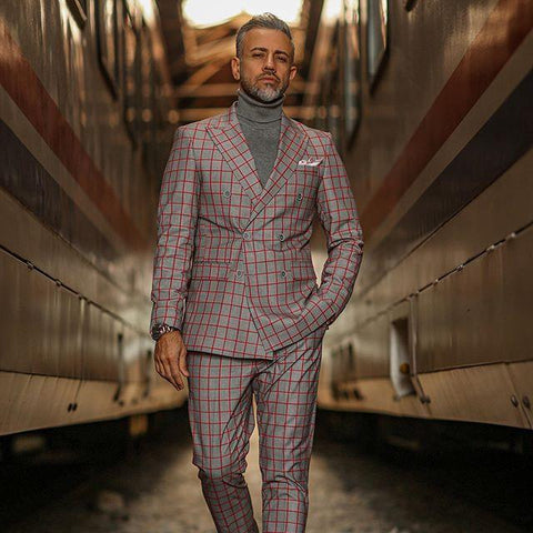 Red Plaid Double-Breasted 2-Piece Suit For Men-Suit-LeStyleParfait.Co.Ke