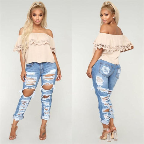Ripped Denim Jeans Pants For Women-Pants-LeStyleParfait.Co.Ke