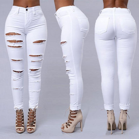 Ripped Jeans Pencil Pants For Women-Pants-LeStyleParfait.Co.Ke