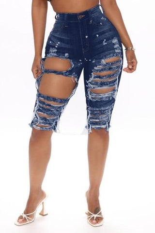 Ripped Jeans Summer Knee Length Jeans-Shorts-LeStyleParfait.Co.Ke