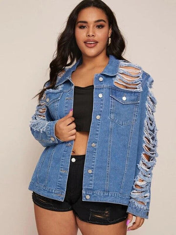Ripped Plus Size Denim Women's Jacket-Jacket-LeStyleParfait.Co.Ke