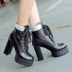 Rubber Boots Women Platform Shoes Lace Up Ankle Boots-Shoes-Le Style Parfait Kenya