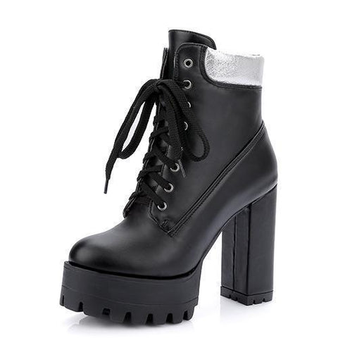 Rubber Boots Women Platform Shoes Lace Up Ankle Boots-Shoes-Black-Le Style Parfait Kenya