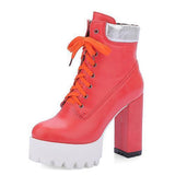 Rubber Boots Women Platform Shoes Lace Up Ankle Boots-Shoes-Red-Le Style Parfait Kenya