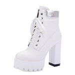 Rubber Boots Women Platform Shoes Lace Up Ankle Boots-Shoes-White-Le Style Parfait Kenya