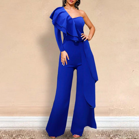 Ruffle Off-Shoulder Party Jumpsuit For Women-Casual, Clothing, Evening, Fashion, Jumpsuits, Overalls, Party, Ruffles, Women-LeStyleParfait.Co.Ke