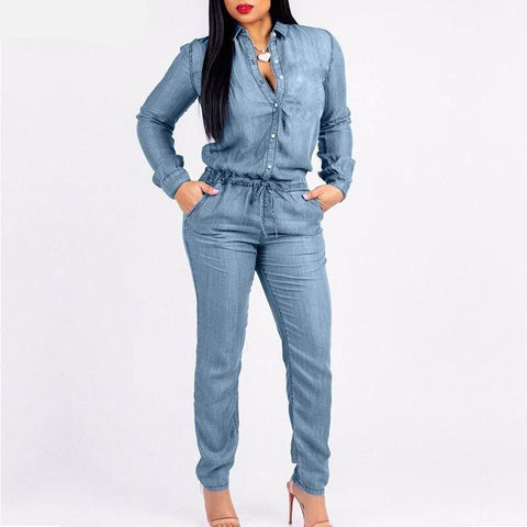 Sexy Draw String Belt Women's Jumpsuit-Casual, Clothing, Denim, Draw String, Fashion, Jumpsuits, Overalls, Women-LeStyleParfait.Co.Ke