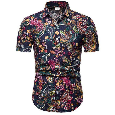 Shirt-Hawaiian Men's Shirt, Black Short Sleeves Shirt-Shirt-LeStyleParfait.Com