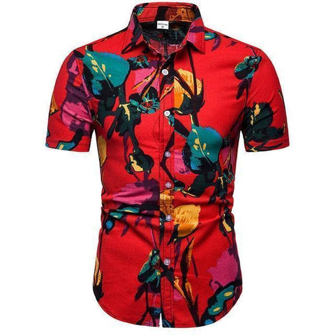 Shirt-Hawaiian Men's Shirt, Red Short Sleeves Shirt-Shirt-LeStyleParfait.Com