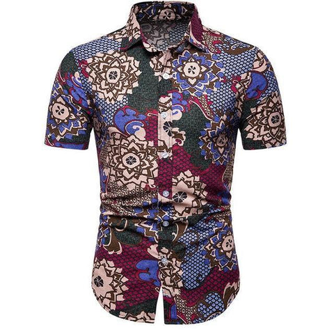 Shirt-Hawaiian Short Sleeves Men's Shirt, Plus Size-Shirt-LeStyleParfait.Com