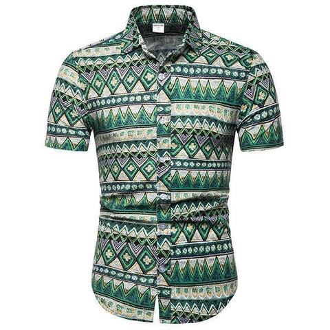 Shirt-Hawaiian Short Sleeves Shirt, Green-Shirt-LeStyleParfait.Com