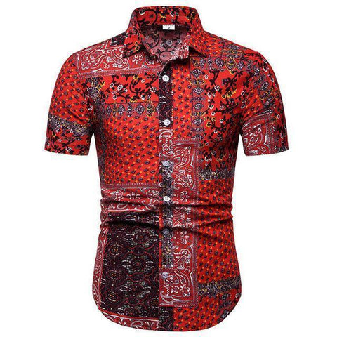 Shirt-Hawaiian Short Sleeves Shirt, Red Floral-Shirt-LeStyleParfait.Com