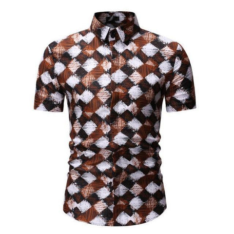 Shirt-Mens Casual Shirt, Short Sleeves Shirt-Shirt-LeStyleParfait.Com