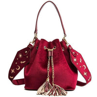Shoulder Bags Velvet Bucket Bags with Tassel-Bag-Kenya-LeStyleParfait.Co.Ke